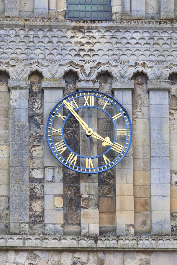 12th century Romanian style Church of St Mary the Virgin, clock tower, Dover, United Kingdom.Virgin, clock. 12th century Romanian style Church of St Mary the stock image