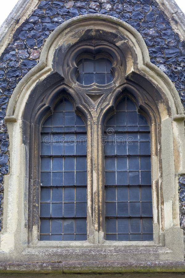 12th century Romanian style Church of St Mary the Virgin, Dover, United Kingdom. 12th century Romanian style Church of St Mary the Virgin, decorative window stock images