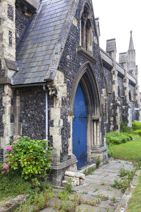 12th century Romanian style Church of St Mary the Virgin, Dover, United Kingdom.  stock photos