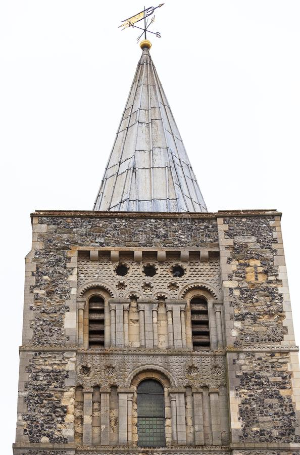 12th century Romanian style Church of St Mary the Virgin, tower, Dover, United Kingdom.  stock photography
