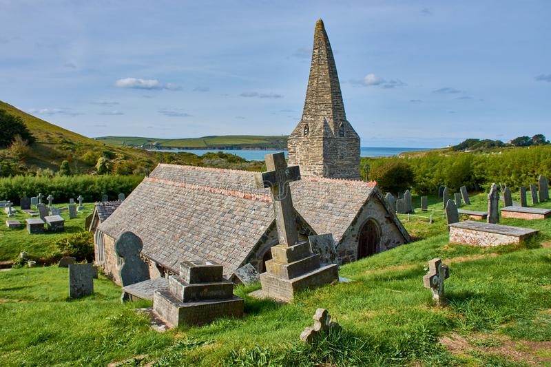 church St. Enodoc in North Cornwall, England stock image