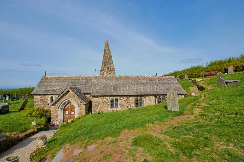 Church St. Enodoc in North Cornwall, England royalty free stock photography