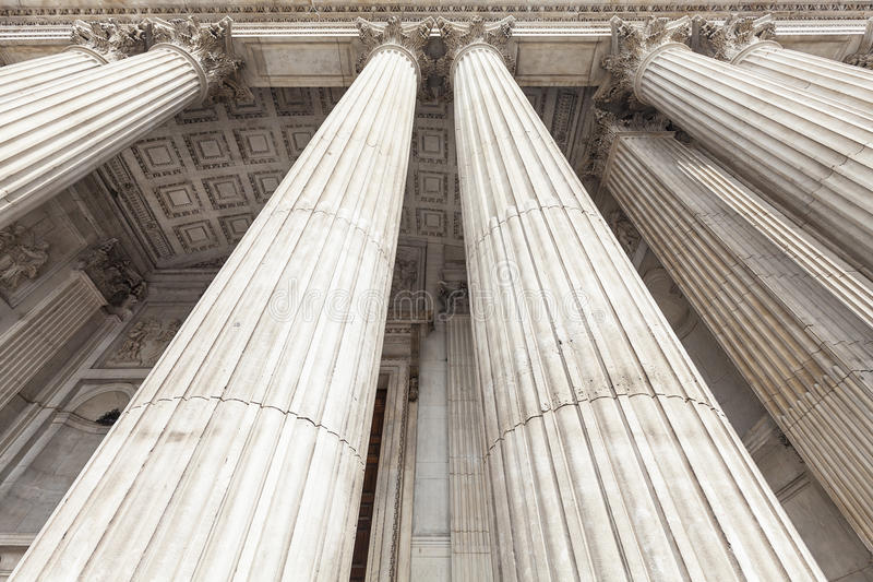 18th century St Paul Cathedral, majestic columns, London, United Kingdom royalty free stock image