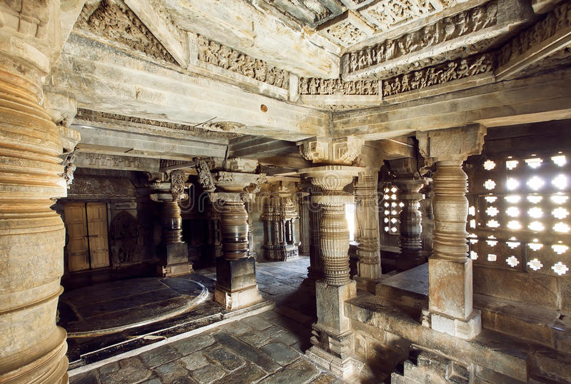 12th century stone temple Hoysaleswara with fantastic columns and carvings, Karnataka of India. Temple was built in 1150 by king of Hoysala Empire royalty free stock images