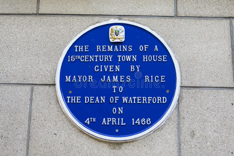 15th Century Town House Blue Plaque in Waterford royalty free stock photography