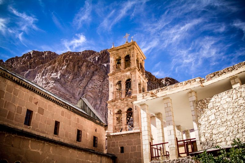 St Catherine`s Monastery near Mount Sinai. The 6th century, UNESCO-listed St Catherine`s monastery at the foot of Mt Sinai in Egypt`s Sinai Peninsula. One of the royalty free stock photo