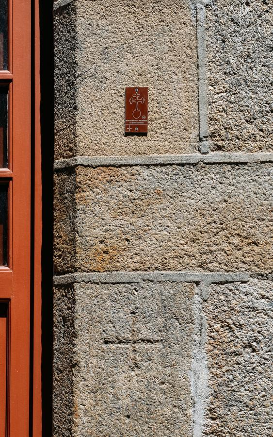 16th-century wall markings at Guarda`s Jewish district depicting Jewish households that were forcibly converted to. Guarda, Portugal - June 12th, 2018: 16th royalty free stock photos