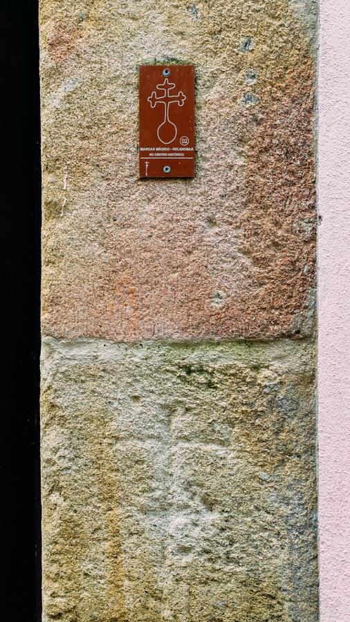 16th-century wall markings at Guarda`s Jewish district depicting Jewish households that were forcibly converted to. Guarda, Portugal - June 12th, 2018: 16th royalty free stock images