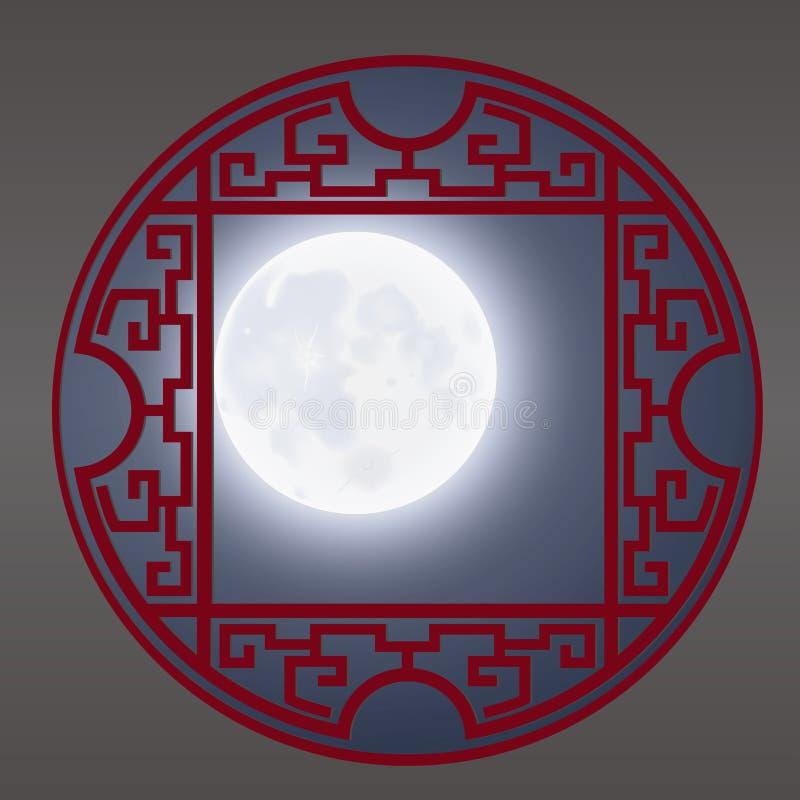 Th Chinese Window Frame, Moonlight vector illustration