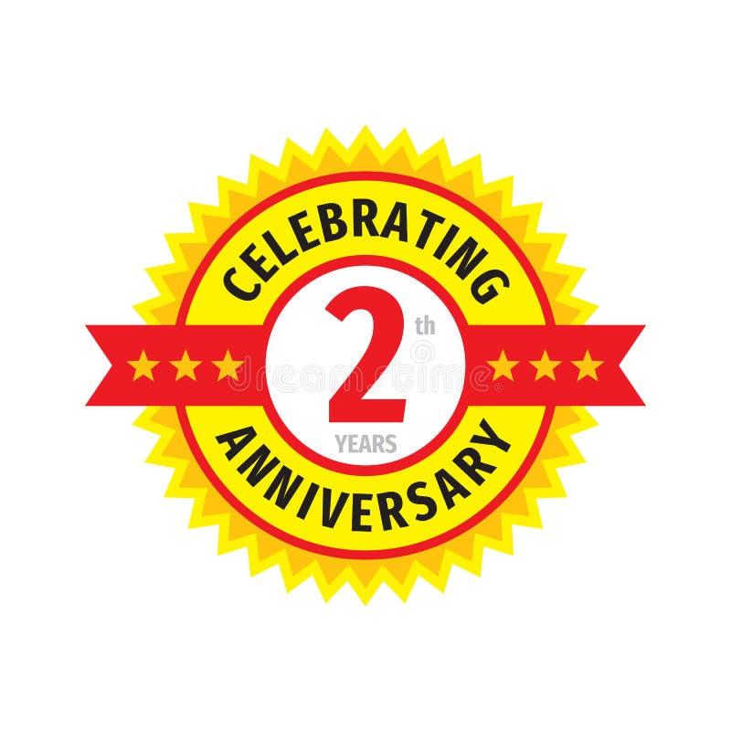 2th conception de logo d'insigne d'anniversaire Deux ans d'anniversaire d'emblème de bannière Affiche g?om?trique abstraite illustration libre de droits