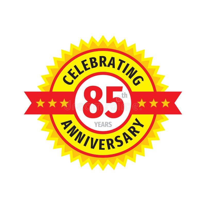 85th conception de logo d'insigne d'anniversaire Quatre-vingt-cinq ans d'anniversaire d'emblème de bannière Affiche g?om?trique a illustration libre de droits