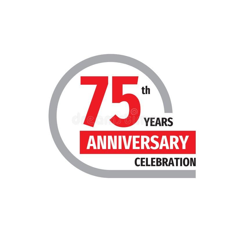 75th design för logo för årsdagberömemblem Sjuttiofem år baneraffisch royaltyfri illustrationer