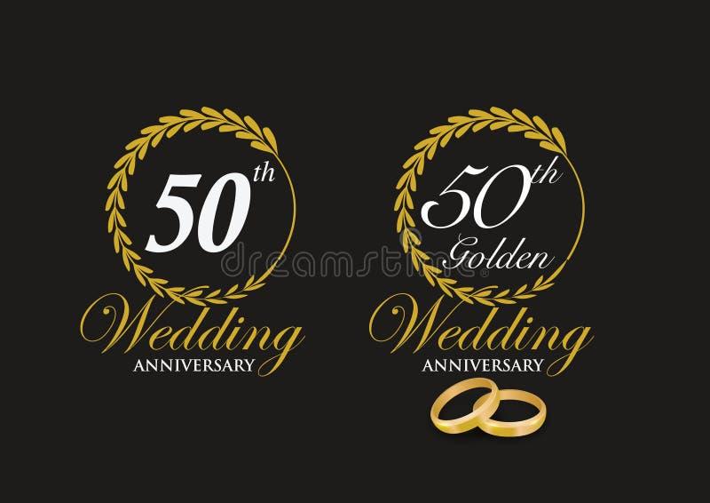 50th emblema do aniversário de casamento dourado imagens de stock