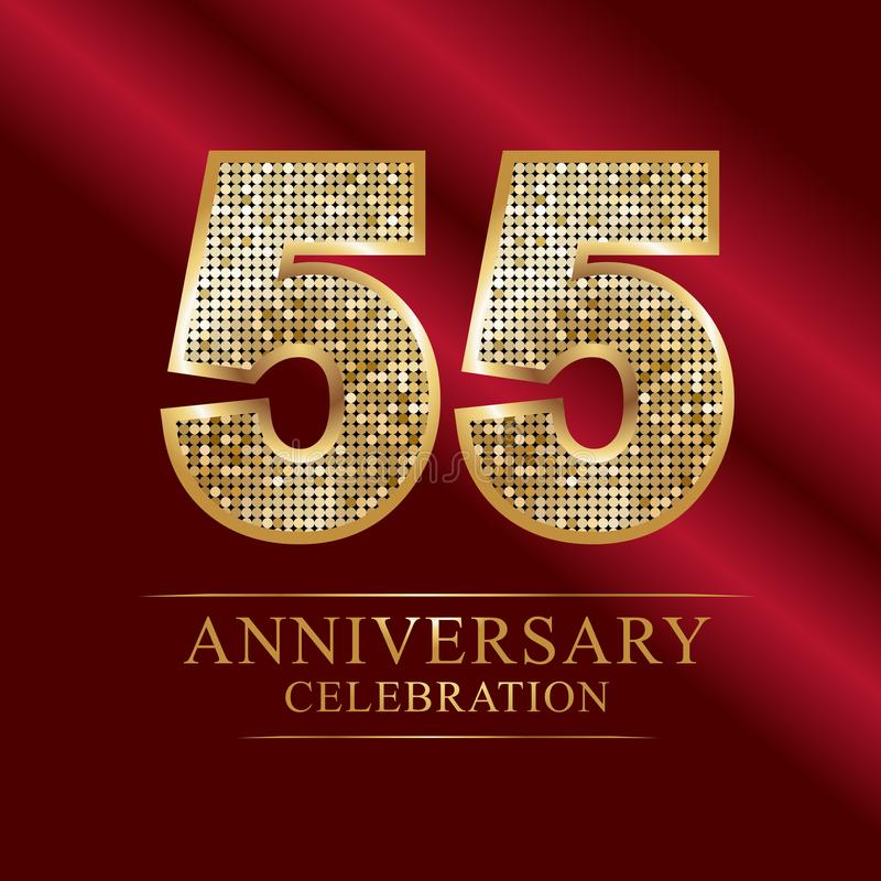55th estilo do disco do logotype do aniversário dos anos ilustração royalty free
