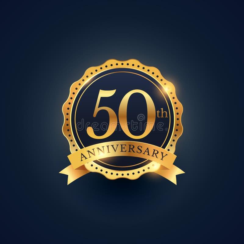 50th etiqueta do crachá da celebração do aniversário na cor dourada ilustração royalty free