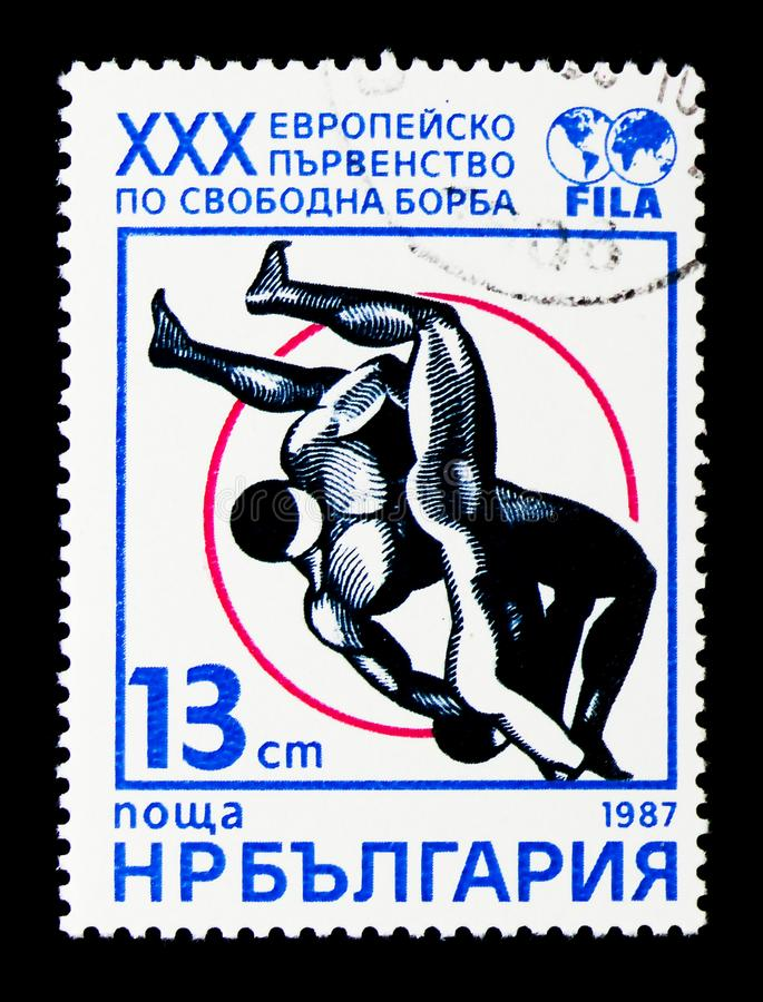 30th Europejski mistrzostwo zapaśnictwo, sporta seria około 1987, obrazy royalty free