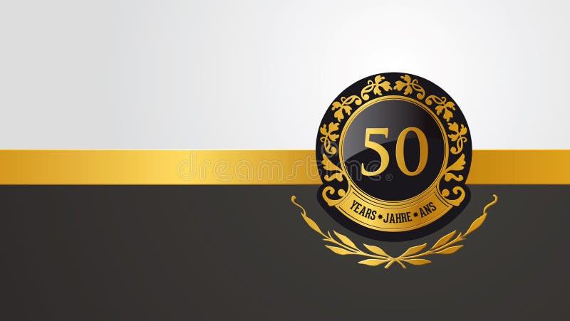 50th födelsedag-, jubileum- eller årsdagpictogramm royaltyfri illustrationer