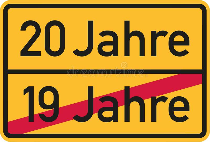 20th födelsedag - roadsigntysk vektor illustrationer