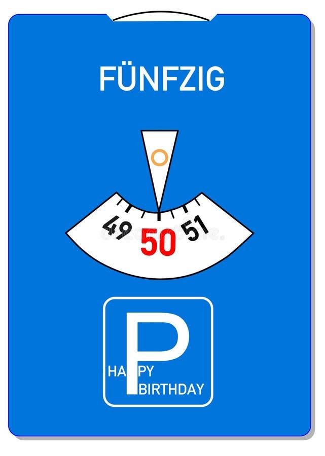 50th födelsedagkort stock illustrationer