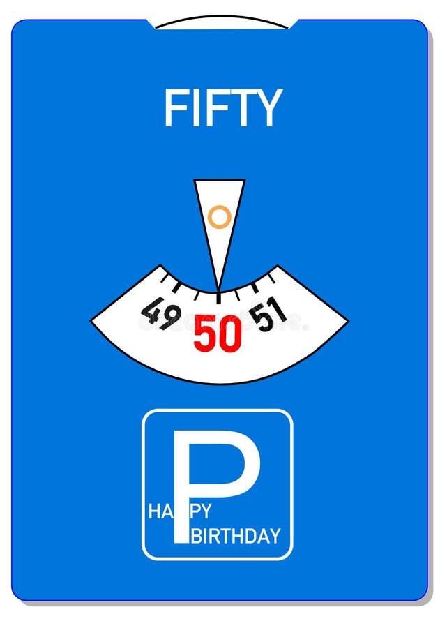50th födelsedagkort royaltyfri illustrationer