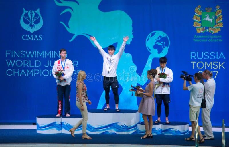 15th Finswimming värld Junior Championships för 31 07 2017 - 07 08 2017 |Tomsk arkivfoto