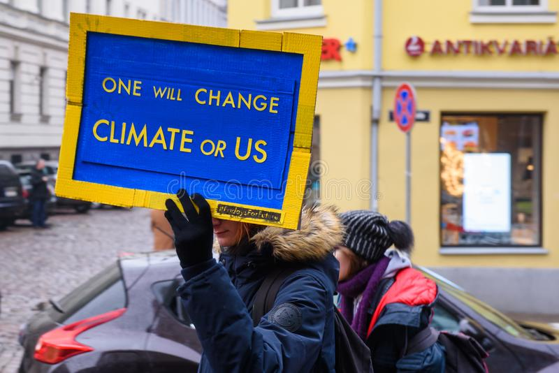 4th Global Climate strike and Black Friday protest in Riga, Latvia royalty free stock photo