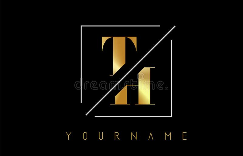TH Golden Letter Logo with Cutted and Intersected Design. And Square Frame Vector Illustration stock illustration
