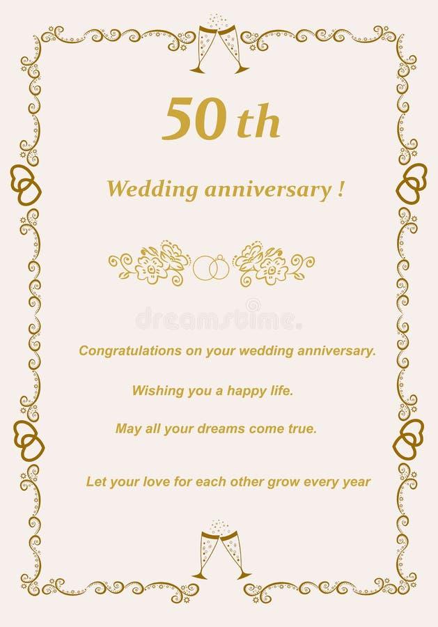 50th Golden Wedding Anniversary Card stock photography