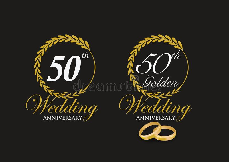 50th Golden Wedding Anniversary Emblem. And Icons with marriage rings to show unity and love stock illustration