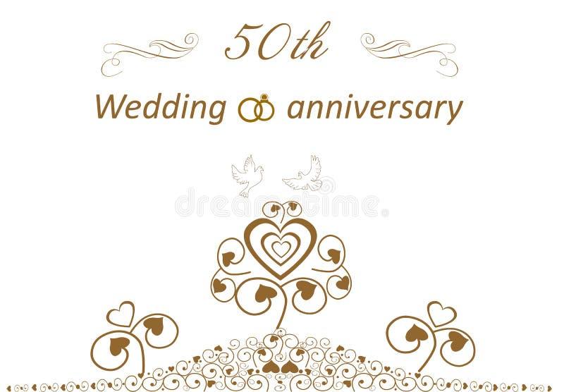 50th Golden wedding  cute anniversary card royalty free stock photos
