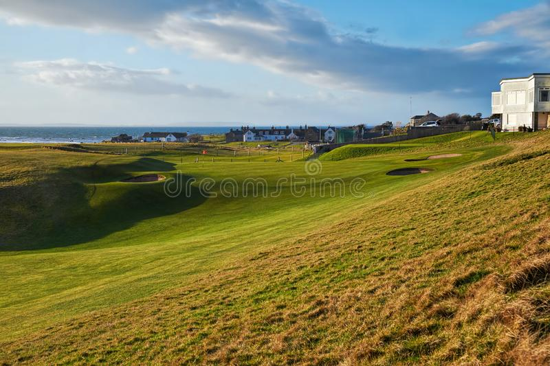Approach to the 18th green at Brora royalty free stock image