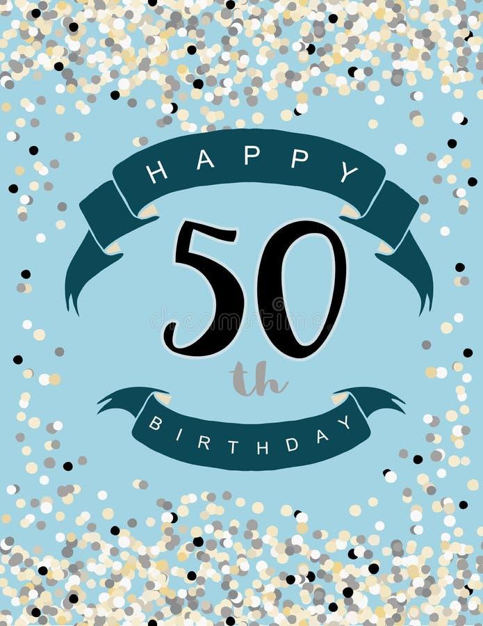 50th ilustração feliz do aniversário Confetes minúsculos em uma luz - fundo azul de Delitace ilustração stock