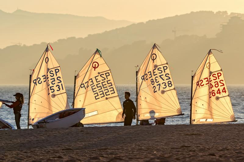 29th INTERNATIONAL PALAMOS OPTIMIST TROPHY 2018, 13TH NATIONS CUP, 15 Feb. 2018 , Town Palamos, Spain royalty free stock image