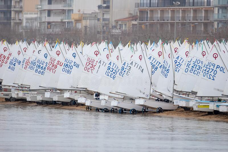 31th INTERNATIONAL PALAMOS OPTIMIST TROPHY 2020, 15TH NATIONS CUP, 15 Feb. 2018 , Town Palamos, Spain.  royalty free stock photography