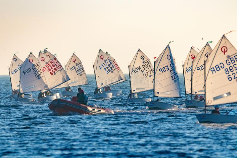 29th INTERNATIONAL PALAMOS OPTIMIST TROPHY 2018, 13TH NATIONS CUP, 15 Feb. 2018 , Town Palamos, Spain royalty free stock images