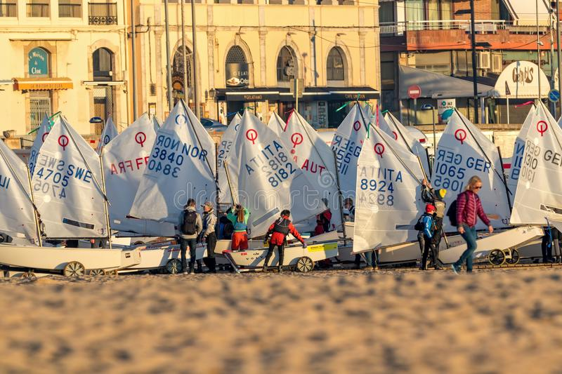 29th INTERNATIONAL PALAMOS OPTIMIST TROPHY 2018, 13TH NATIONS CUP, 15 Feb. 2018 , Town Palamos, Spain stock images