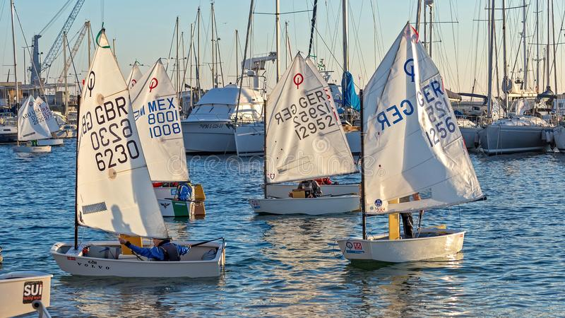 29th INTERNATIONAL PALAMOS OPTIMIST TROPHY 2018, 13TH NATIONS CUP, 15 Feb. 2018 , Town Palamos, Spain stock image