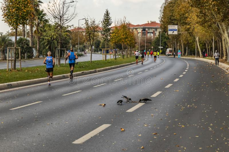 40th internationella istanbul maraton och idrottsman nen arkivbild