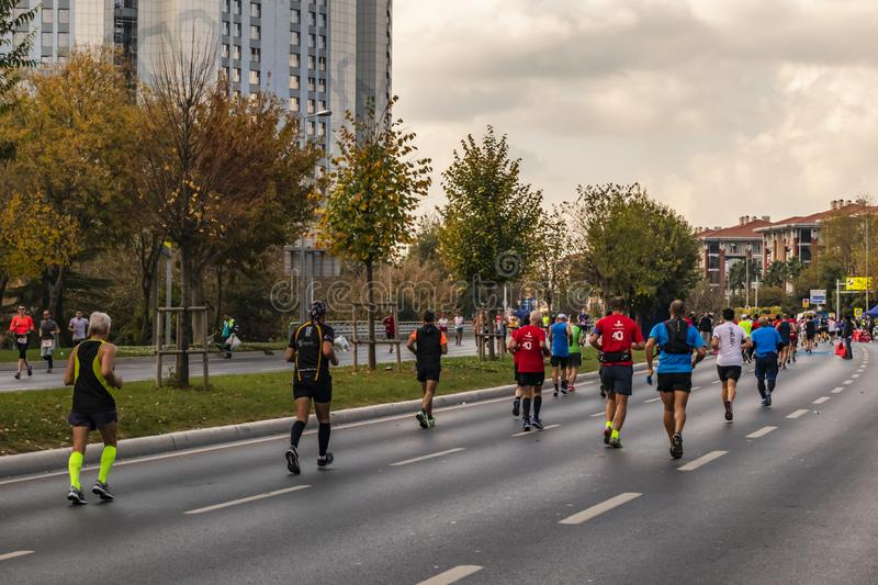40th internationella istanbul maraton och idrottsman nen royaltyfria bilder