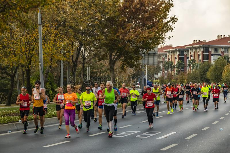 40th internationella istanbul maraton och idrottsman nen arkivbilder