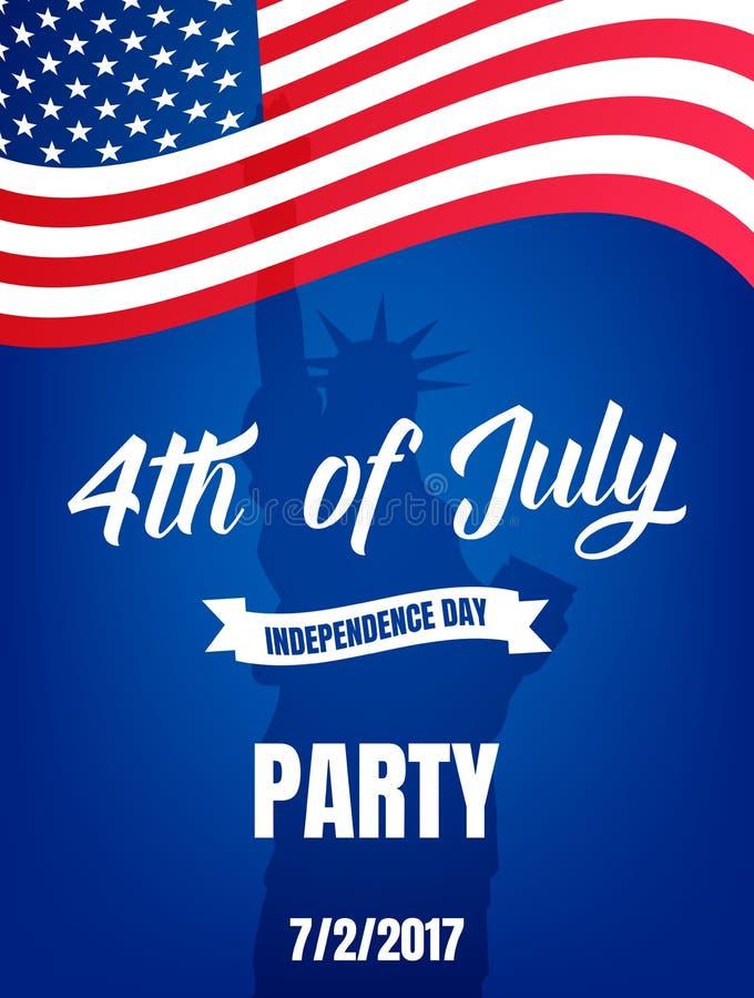 4th juli Affisch för USA självständighetsdagenparti Fjärdedel av banret för Juli feriehändelse vektor illustrationer