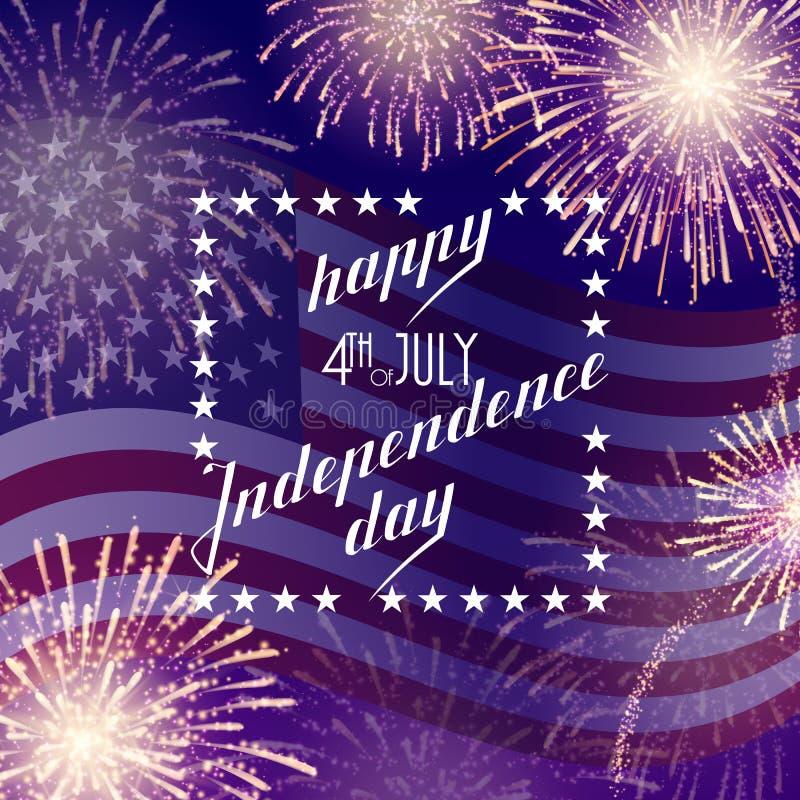 4th Juli, amerikansk självständighetsdagenberömbakgrund med brandfyrverkerier Lyckönskan på fjärdedel av Juli stock illustrationer