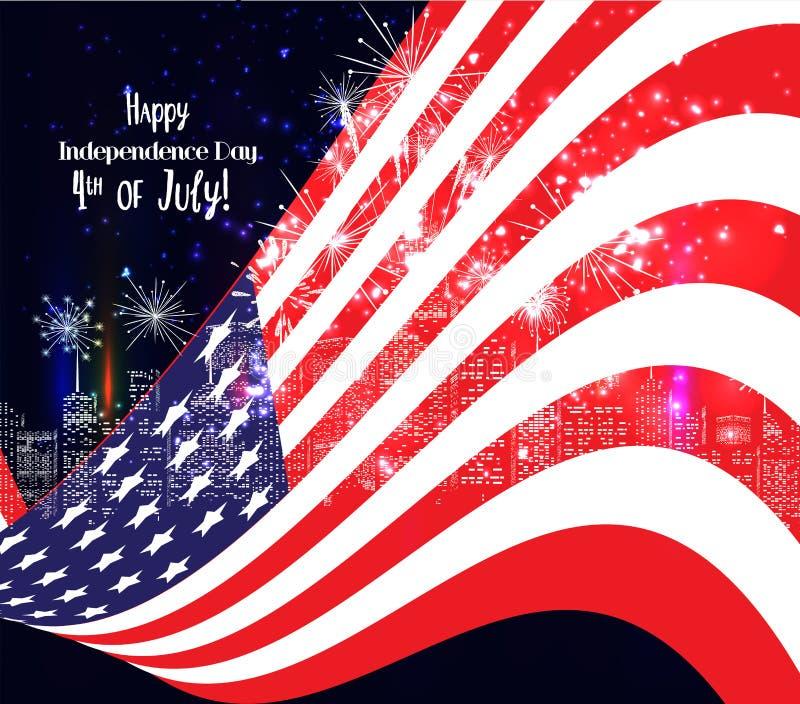 4th Juli, amerikansk självständighetsdagenberömbakgrund med fyrverkerier royaltyfri illustrationer