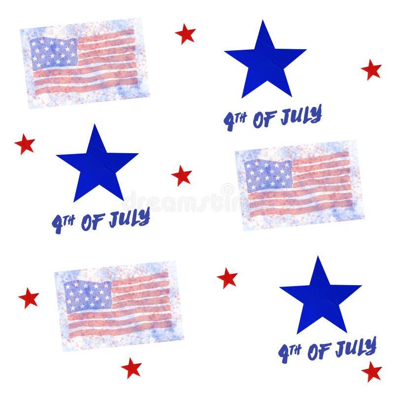 4th Juli, amerikansk sj?lvst?ndighetsdagen seamless modell vektor illustrationer