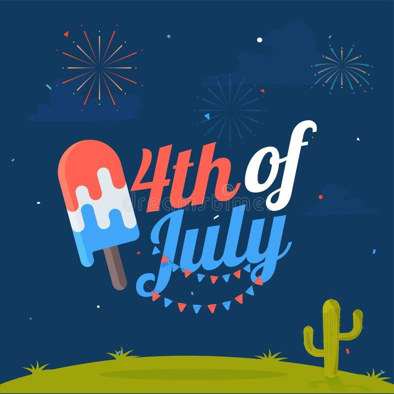 4th Juli, amerikanskt självständighetsdagenbegrepp med stilfull text royaltyfri illustrationer
