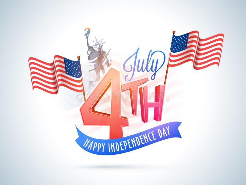 4th Juli, amerikanskt självständighetsdagenberömbegrepp med stock illustrationer
