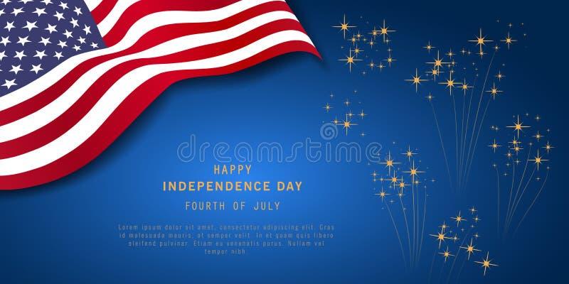 4th Juli eller självständighetsdagenbaner på marinblå bakgrund med fyrverkerier och USA flaggan isolerad minnes- white f?r affisc royaltyfri illustrationer