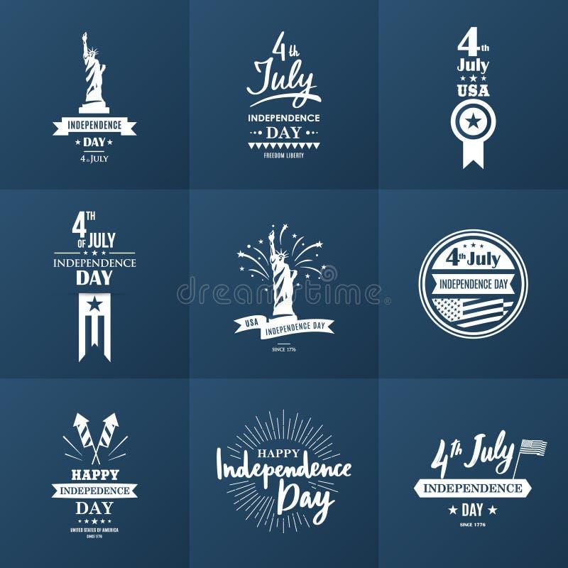 4th juli En uppsättning av nio tappninghälsningkort royaltyfri illustrationer