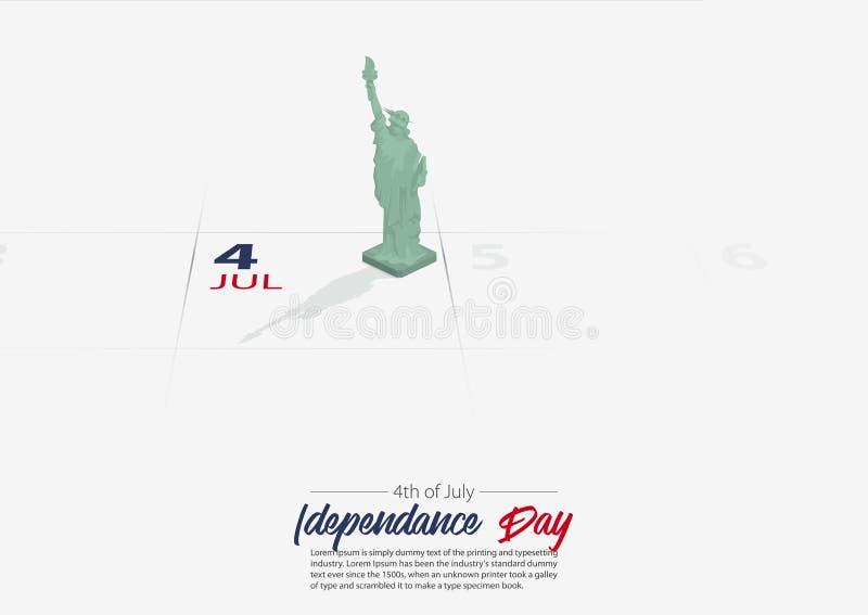 4th juli Enigt tillstånd av den Amerika självständighetsdagen Staty av Liberty National Monument på dag för tydligt datum för kal vektor illustrationer