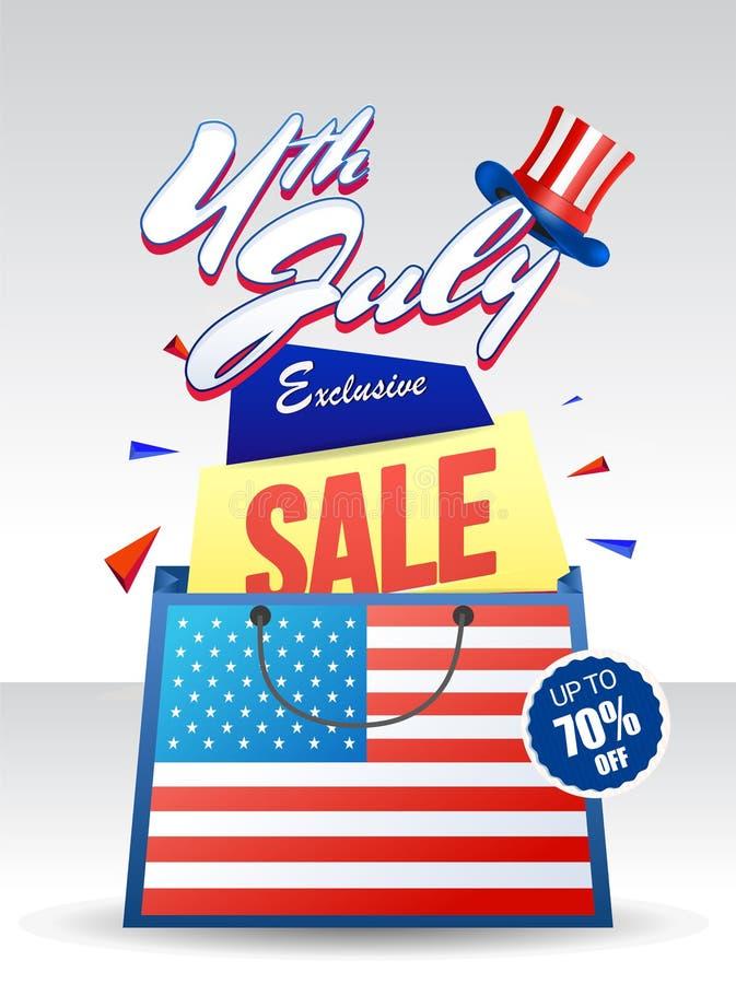 4th Juli, exklusivt Sale erbjudande med shoppingpåsen och hatten royaltyfri illustrationer